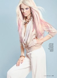 Long, pink ombre hairstyle
