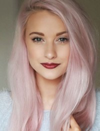 Long, light pink hairstyle