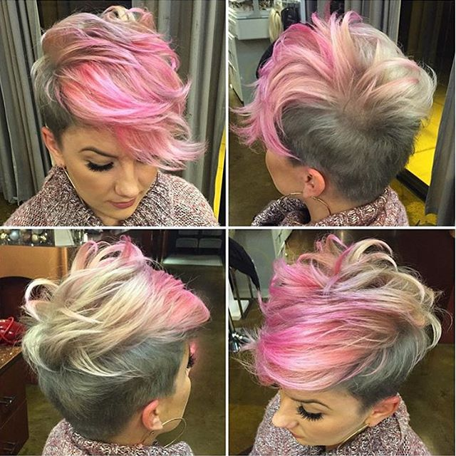Multicoloured hairstyle with dark and pink accents and wavy, long fringe