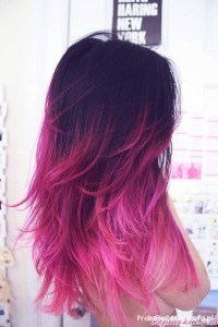 Long, pink hairstyle with ombre effect