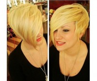 Short, blonde hairstyle with bob and side swept. long bangs