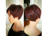 Short, cropped hairstyle with regular back cutting and pixie looking