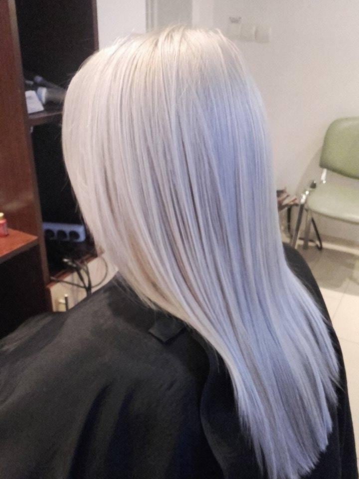 Long, platinum hair