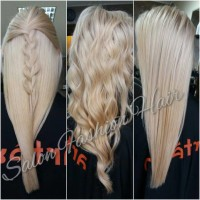 Long, blonde hairstyles with curls or braid