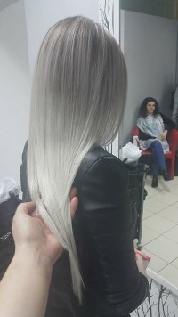 Long, straight, ombre, platinum hair