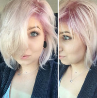 Short, blonde hair with powder pink top