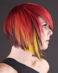 Short, bob, red hairstyle with yellow highlights