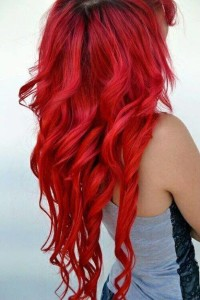 Long, curly, red hair