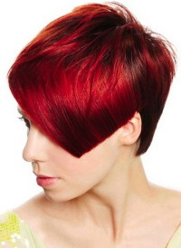 Short, regular cutting, red hairstyle