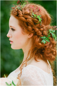 Beautiful long, natural, red hairstyle with crown braids and loosen locks