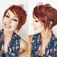 Short, messy, red hairstyle