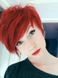 Short, red hairstyle