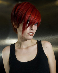 Short, red hair with longer fringe