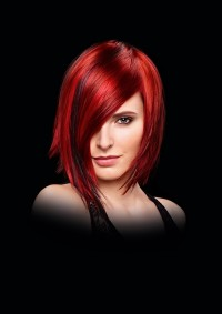 Medium, red hairstyle with highlights