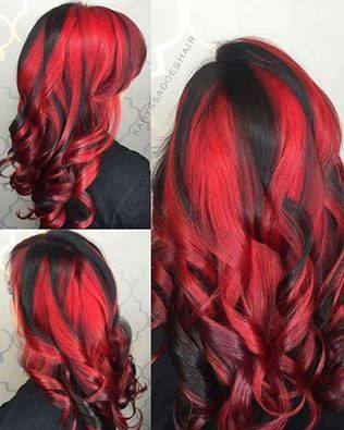 Hot looking, ruby ombre hairstyle with curls