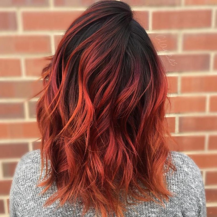 Medium Red Ombre Curls Hairstyles Hair Photo
