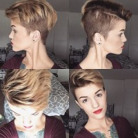 Asymmetrical pixie cut for dark blonde hair