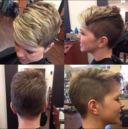 Short, asymmetrical, blonde hairstyle fo pixie's fans