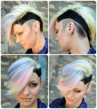 Short, high fade, asymmetrical hairstyle with wavy, longer fringe and black sides