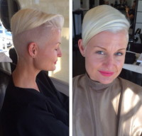 Pixie, short, blonde hairstyle with side-swept hair