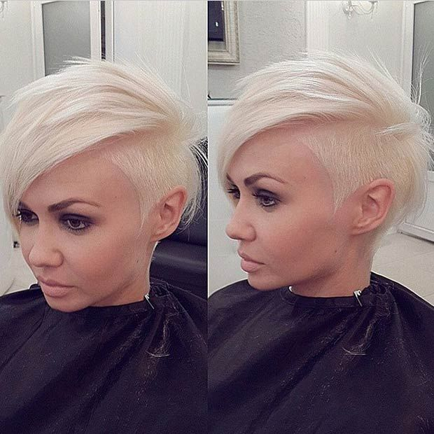 Short, trimmed, blonde haircut