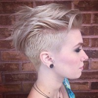 Asymmetrical, pixie cut for blonde girls