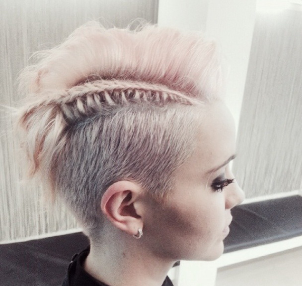 Amazing short, pixie undercut with side- swept bangs and braid
