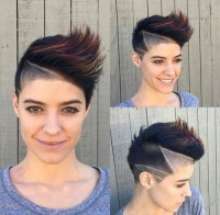 Short, pixie, dark brown cut with highlighted fauxhawk and shaved design