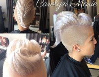 Sleek coif with double sided undercut for platinum hair