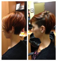 Short, brown hairstyle with bob back and shaved side