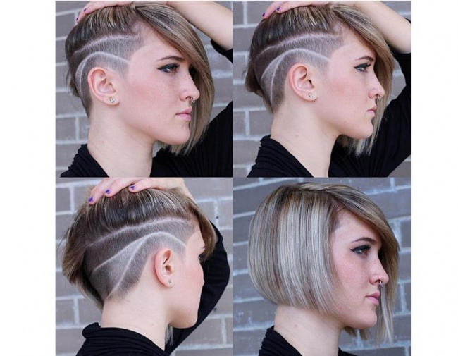 Short hairstyle with side-swept, long fringe and shaved pattern