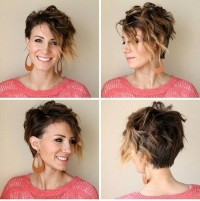 Short hairstyle with highlighted, curly fringe