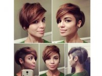 Short, brown hairstyle in bob style and shaved side
