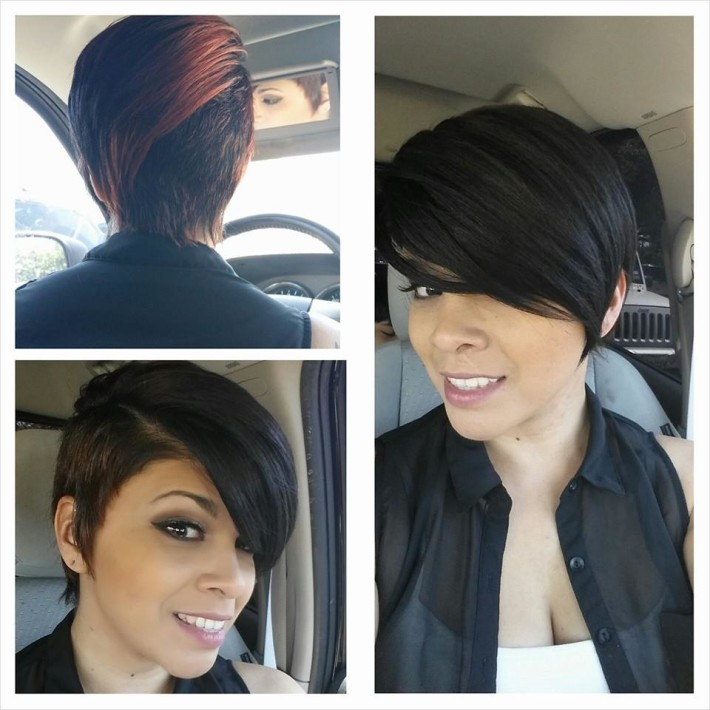 Short, dark hair with brown highlights and shaved side | Hairstyles ...