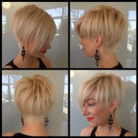 short, blond hair with shaved back in the bob style
