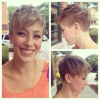 Short, pixie hairstyle with short bangs and shaved side