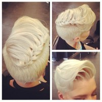 Short hairstyle for blond women with a braid on the top of the head and wavy fringe