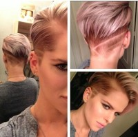 Short, coloured hairstyle with blond reflections and shaved pattern