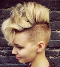 Short, blond hairstyle with wild mohawk and shaved sides