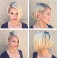 Short, blond hairstyle in the bob style