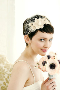 Short, brown, pixie, wedding hairstyle