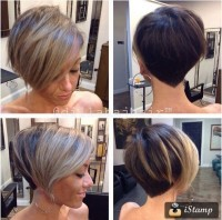 Short, bob hairstyle with shaved necklace pattern on the back and long, blonde bangs