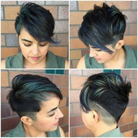 Short pixie hair with razored and layered cut on the back and longer fringe