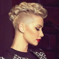 Curly mohawk style for short, pixie hair