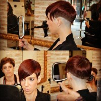 Short, razored cutting hairstyle for red haired girls