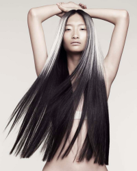 Long, dark hair with regular cutting and blonde top