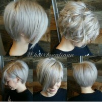 Short, pixie hairstyle with bob and waves
