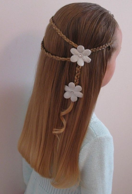 Cute hairstyle for girls with dark blonde hair, braids and flowers