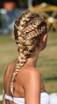 Dutch braids for long, blonde hair
