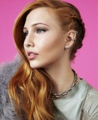 Long, natural, ginger hair with braids on the side